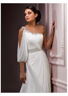 Wedding dress online shop - Chiffon Beaded Asymmetrical Neckline Gathered Bodice Beaded Waistband Sheath Soft Pick-up Skirt with Chapel Train 2012 New Arrival Wedding Dress WD-1472