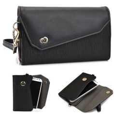 New! Kroo Designer Fashion Smart-Phone Wristlet Clutch PU Leather Pouch Noir