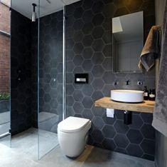Hexagonal tiles on the wall create added texture.