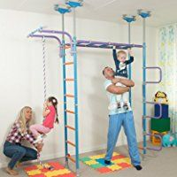 Huge Kids Playground Play Set for Floor & Ceiling / Indoor Training Gym Sport Set with Accessories Equipment: Climber, Rope Ladder, Swing, Gymnastic Rings, Climbing Rope / Suit for Apartment, School, Kids room and Playroom / WALLBARZ Jungle Dome