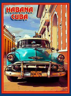 Cuba Cuban Havana Island Habana Caribbean Travel Art Advertisement Poster | Objetos de colección, Recuerdos y memorabilia de viajes, International | eBay!