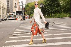"""What We're Wearing This Fashion Week  #refinery29  http://www.refinery29.com/outfit-ideas-fashion-week-2014#slide-5  """"The top is also Harbison and a perfect palate cleanser for those beautiful bottoms."""""""