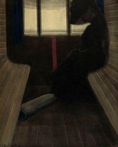 Léon Spilliaert (Belgian, 1881-1946), La dame dans le train [The Lady on the Train], 1908. Indian ink wash, chalk and gouache on paper, 51.8 x 41.5 cm.