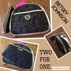 2 FOR ONE DEALBetsey Johnson makeup duo NWT JUST IN Betsey Johnson make up duo. This amazing set is so practical. The make up travel bag measures 11x9.5 and has 2 pockets inside to secure bottles while traveling. Easy wipe off material.  The small purse size make up pouch is 9x5 1/4.  It can be also used for cell phone, money and ID.   Betsey Johnson Bags Cosmetic Bags & Cases