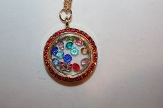 Living Floating Charm Memory Round Locket Necklace US Seller