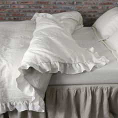 Our Pure linen Duvet Cover is enhanced with ruffles all around it and is matching our ruffled shams in the appropriate sizes. This linen bedding is environment friendly. The soft washed linen duvet co