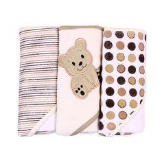 """SpaSilk 3 Pack Hooded Towels - Ivory Bear - SpaSilk - Babies """"R"""" Us"""