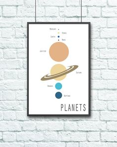 Contemporary Planet Order and Size Educational Astronomy Poster - Science Poster Thomas Jefferson, Boy Room, Kids Room, Planet Order, Small Space Nursery, Birthday Blast, Projects To Try, Artsy, Astronomy Posters