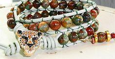 SOLD - Cheetah - Green Chalcedony 2 Wrap Leather Bracelet | GemOnAWire - Jewelry on ArtFire