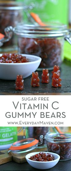 These Sugar Free Vitamin C Gummy Bears are the perfect way to give your immune system a boost during sick season. Perfect for little and big kids alike! via @EverydayMaven