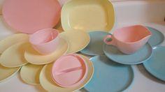 Melmac Texasware Pink Blue Yellow Eclectic Mix Dish by CraftySara, $36.00