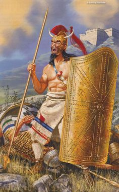The Achaean Warrior, Ajax, armed with a Bronze Spear and a Tower Shield. c. 13th Century BC. Artwork by Johnny Shumate.