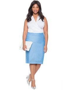 Eyelet Pencil Skirt | Women's Plus Size Skirts | ELOQUII