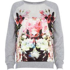Cream floral print satin front dolman top FOLLOW US on https://www.facebook.com/LikeBlaaaBlaaa