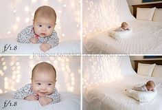 how to take baby photos at Christmas - hang a white sheet and Christmas lights behind baby for a festive backdrop