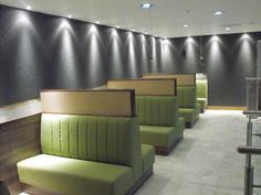 Fixed Banquette Restaurant Seating,Designed, Manufactured and Installed For 210 Bistro Aberdeen. Material: Lime Green Faux Leather. - See more at: http://www.sigcontracts.co.uk/bespoke/10.php