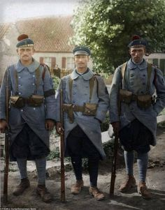WW1 French soldiers who distinguished themselves in combat at Saint Folquin in northern France, including Fusilier Limbi and Fusilier Marin, September 1917