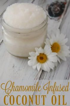 Chamomile Infused Coconut Oil - Super simple and you can even use tea bags! Great for soothing dry skin. #coconutoil #chamomile #eczema #moisturizer #naturalskincare Coconut Oil Moisturizer, Coconut Oil Lotion, Coconut Oil For Acne, Homemade Moisturizer, Coconut Oil Uses, Benefits Of Coconut Oil, Organic Coconut Oil, Coconut Oil Diaper Rash, Natural Moisturizer