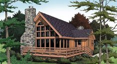 A huge deck, a tall stone chimney and magnificent windows make this rustic home a fun, peaceful retreat. - Reversed