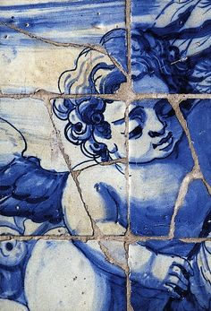 "The Jesuit church of Sao Roque, Lisbon with its beautiful tiles ""azulejos"" (detail)"