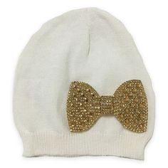 Buy Buy Baby on Wondermall - Curls   Pearls Crystal Bow Infant Hat in  Ivory Gold dec5e4fb549