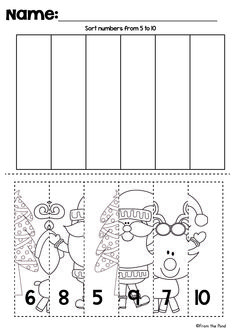 Christmas Cut and Paste Number Line Puzzles $