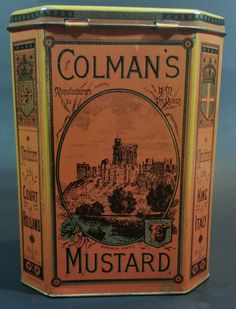 Vintage 1980s Reproduction Replicans Bedford England Colman's Mustard Storage Tin https://treasurevalleyantiques.com/products/vintage-1980s-reproduction-replicans-bedford-england-colmans-mustard-storage-tin  #VintageAdvertising #Collectibles