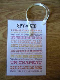 """Pour occuper les plus jeunes: le jeu du """"spy kid"""" (explications sur le site)."""