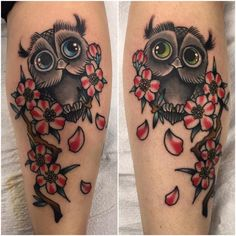 Chrismatic Matching Owl Couple Tattoo