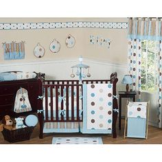 "JoJo Designs Blue and Chocolate Mod Dots Collection 9-Piece Crib Bedding Set - JoJo Designs - Babies ""R"" Us"