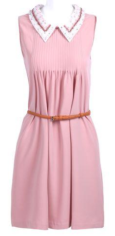 Pink Sleeveless Contrast Beading Collar Belt Shift Dress US$99.00
