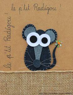 Love this denim mouse applique - such a cute idea. Would look lovely on kids' clothes. Artisanats Denim, Denim Art, Jean Crafts, Denim Crafts, Arte Punch, Denim Ideas, Recycle Jeans, Wool Applique, Felt Ornaments