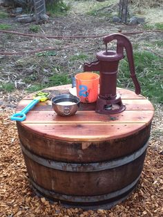 How to Make a Wine Barrel Water Pump - Savory Lotus Water Playground, Backyard Playground, Backyard For Kids, Playground Ideas, Backyard Games, Outdoor Games, Toddler Playground, Outdoor Fun, Backyard Ideas