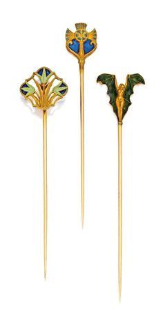 RENÉ LALIQUE   Three Gold and Enamel Stickpins - circa 1900.