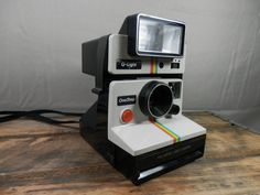 Polaroid One Step Rainbow SX-70 Series Land Camera with Q Light Flash by WesternKyRustic on Etsy