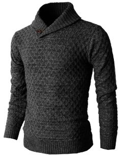 Mens Causal Knit Pullover Sweater With Hexagon Pattered Long Sleeve (KMOSWL026 #doublju
