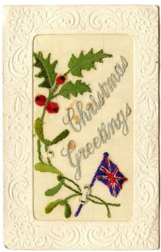 Old Rare Postcard WW1 Embroidered Silk 'Christmas Greetings' Unused (Ref: AF139) in Collectables, Postcards, Military | eBay