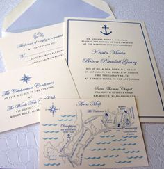 Nautical Wedding Invitation Suite by PinkPolkaDotEvents on Etsy, $5.25