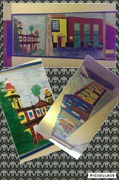 15-02-16 Hoy hemos pintado unos dibujos de lugares de La Laguna a mi grupo nos tocó la iglesia de la Catedral, habían dibujos de la mercería, de la Concepción...