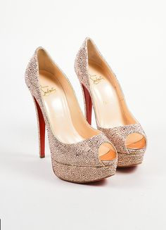 "Pink Christian Louboutin Crystal ""Lady Peep Strass 150"" Pumps"