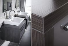 Dark wood worktop from Utopia Bathrooms.