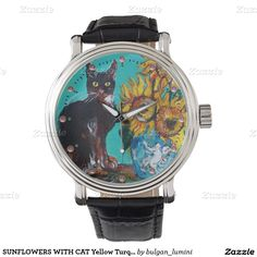 SUNFLOWERS WITH BLACK CAT Yellow Turquoise Blue Fine Art Watch by Bulgan Lumini (c) Wrist Watches#beauty #nature #fineart #animals #cats #floral #flowers