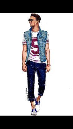 Men'S fashion illustration: one dapper fashion, fashion line, mens fashion wear Fashion Line, Look Fashion, Classy Fashion, Arte Fashion, Fashion Shoes, Men's Fashion, Fashion Dresses, Silhouette Mode, Man Illustration