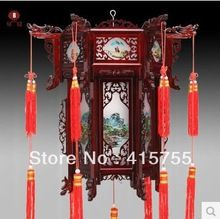 free ship chinese landscape antique style wooden dragon carving palace lantern nice home decoration(China (Mainland))