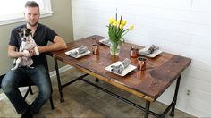 The Industrial Farm Table - DIY Project - YouTube