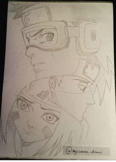 Anime Naruto, Minato Y Naruto, Kakashi And Obito, Naruto Shippuden Anime, Sasuke, Manga Anime, Boruto, Team Minato, Naruto Sketch Drawing