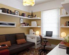 Home office. I like the shelving and the built in counter top style desk.