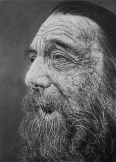In addition to using charcoal, artist Douglas McDougall uses Stanley blades, sharply cut erasers, and coarse sandpaper to texturally scrape the surface of his drawings.