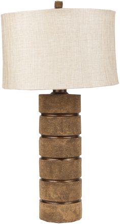 Great textured base in neutral and natural brown. A lamp from Surya. (LMP-1029)