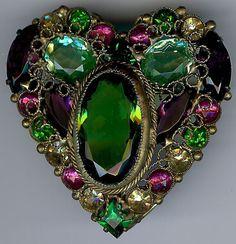 EARLY HOBE VINTAGE DAZZLING PURPLE GREEN PINK RHINESTONE GLASS ORNATE HEART PIN
